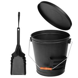 Black Fireplace Metal Hot Ash Covered Fireproof Bucket with