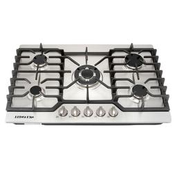 "Branded 30""COOKTOP Steel Built-in 5 Burners Stove LPG/NG Gas"