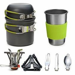 camping cookware kit lightweight stove