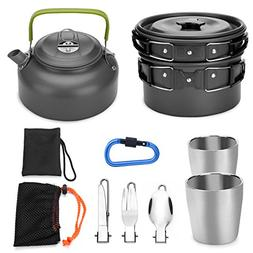 Odoland 10pcs Camping Cookware Mess Kit, Lightweight Pot Pan