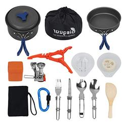 Bisgear 17pcs Camping Cookware Stove Carabiner Canister Stan
