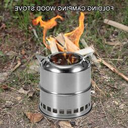 Portable Folding Camping Stove Outdoor Cooking Wood Burning