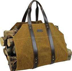 INNO STAGE Canvas Log Carrier Bag,Waxed Durable Wood Tote,Fi