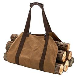 Canvas Log Carrier Bag,Canvas Firewood Log,Waxed Durable Woo