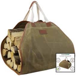Canvas Log Carrier Bag Durable Wood Tote Fireplace Stove Acc