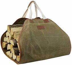 Canvas Log Carrier Bag,Durable Wood Tote,Fireplace Stove Acc
