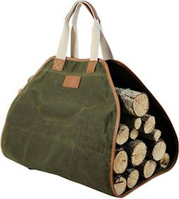 Canvas Log Carrier Bag Waxed Durable Wood Tote Fireplace Sto