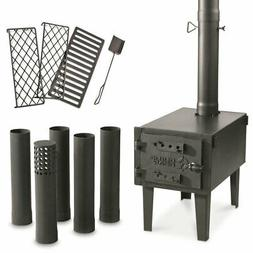 Cast Iron Wood Burning Stove Camp Tent Hunting Galvanized St