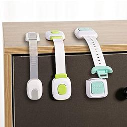 LOVE MEI - Child Safety Locks with Adhesive Strap Baby Proof