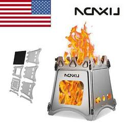 Lixada Compact Folding Stainless Steel Wood Stove for Outdoo