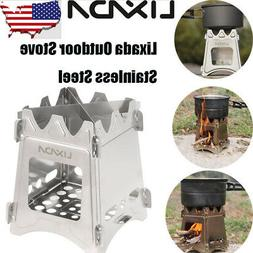 LIXADA Compact Folding Wood Stove for Outdoor Camping Cookin