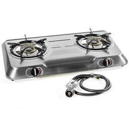 XtremepowerUS Deluxe Propane Gas Range Stove 2 Burner Stainl