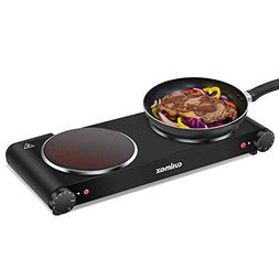 Cusimax Double Burner, Portable Electric Stove, 1800W Infrar