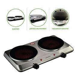 Ovente 120V 1500 Watts Double Cooktop Burner Portable Cerami