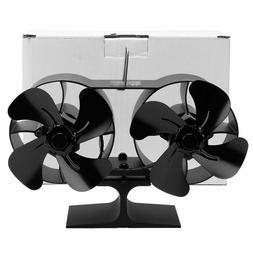 Double Head 4 Blades Fireplace Fan Heat Powered Wood Stove F