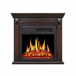 Electric Fireplace Mantel Wooden Surround Firebox,Freestandi