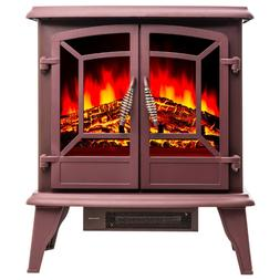 Electric Stove Red Vintage Glass Door Realistic Flame Logs S