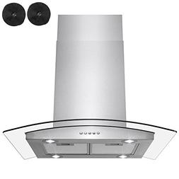 "AKDY 36"" Euro Style Stainless Steel Island Mount Ductless Ra"