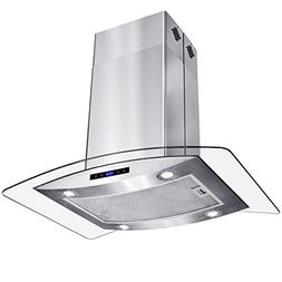 """AKDY 30"""" Island Mount Stainless Steel Tempered Glass Touch P"""