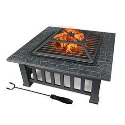 "ZENY 32"" Outdoor Fire Pit Square Metal Firepit Backyard Pati"