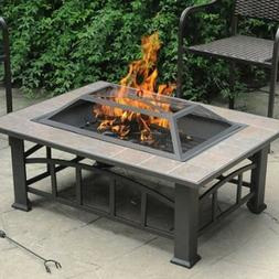 Outdoor Fireplace Fire Pit Table Stone Top Firepit Burner Wo