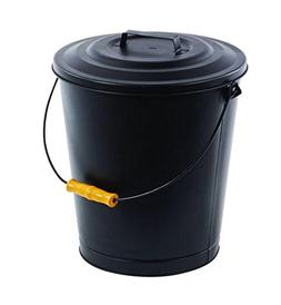 Fireplace Metal Hot Ash Covered Fireproof Bucket with Lid Bl