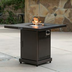 Belleze© Gas Outdoor Fire Pit Glass Table with Hammered