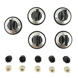 Gas Range Replacement Knob Set with Universal Insert Adapter