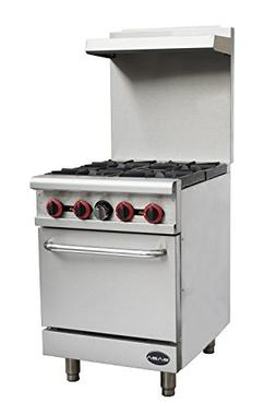 "Heavy Duty Commercial 24"" Gas 4 Burner Range with Oven"