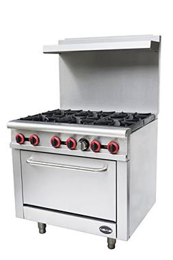 "Heavy Duty Commercial 36"" Gas 6 Burner Range with Oven"