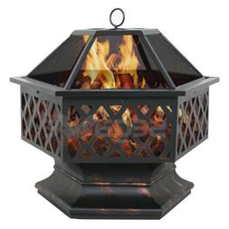 Hex Shaped Patio Fire Pit Outdoor Home Garden Backyard Firep