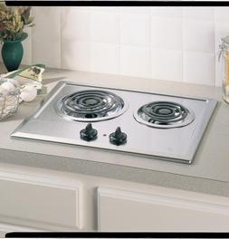 Ge JP201CBSS Built-In Electric Cooktop, 2-Burner, Stainless