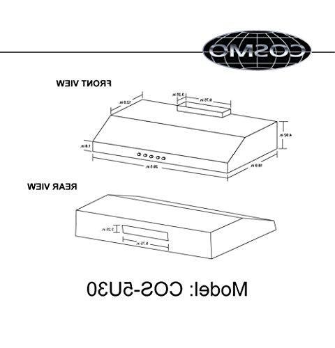 Cosmo 5U30 Range Ducted / Top , Stove Vent 3 Exhaust Reusable Light