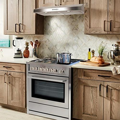 Cosmo Under-Cabinet Range Hood Ducted Ductless Convertible Top , Slim Kitchen Stove Vent 3 Filter , with Light