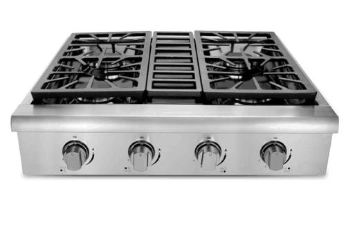 30 gas rangetop cooktop stainless four burners