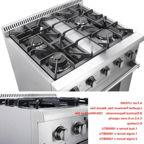 "Thor Kitchen30""Gas Rangetop Oven HRG3080U 4-Burner Stove Stainless"