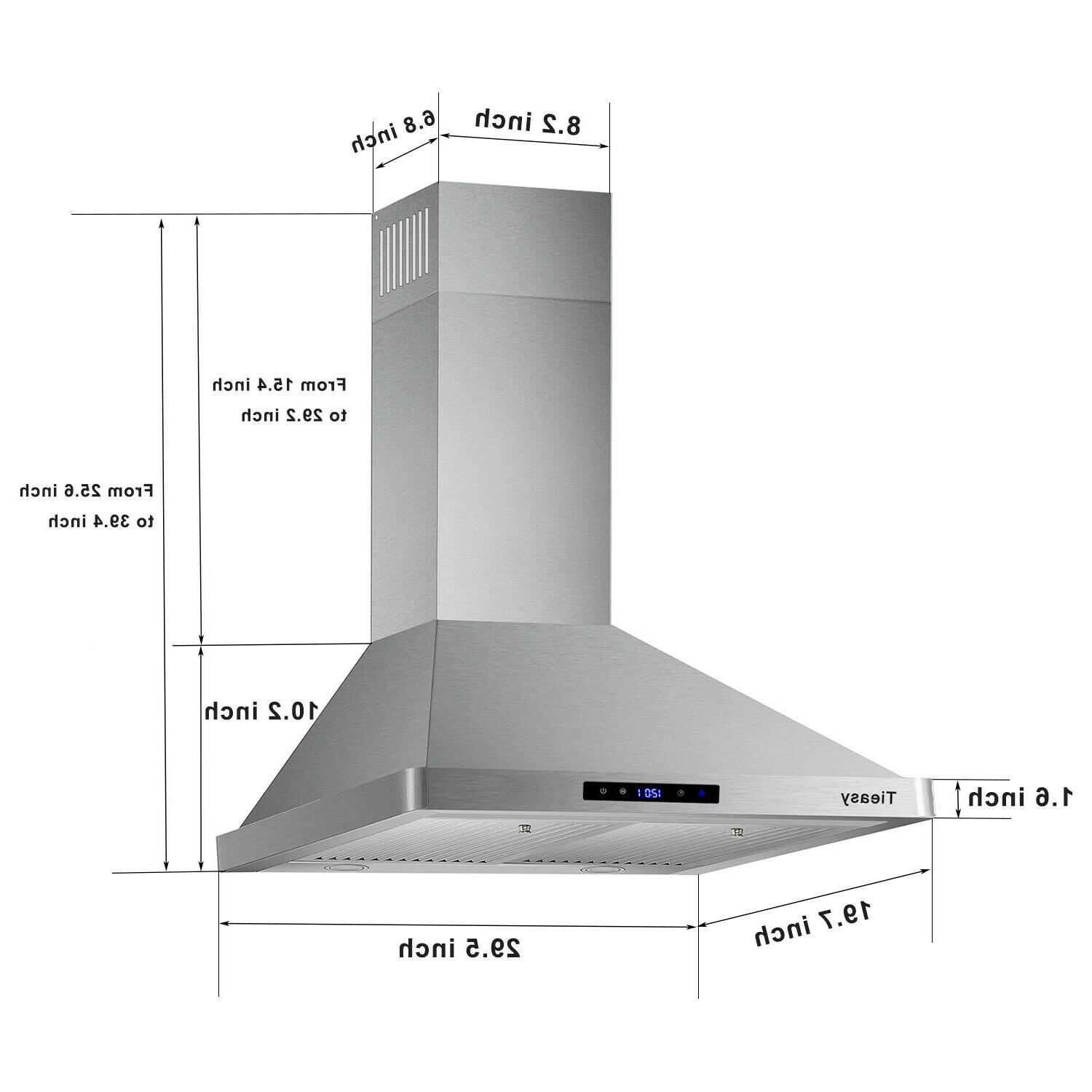 30 Wall Mount Range Stainless Steel Vent
