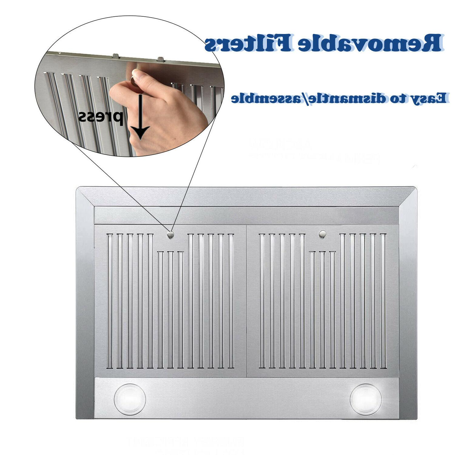 30 inch 760 Wall Mount Range Stainless Stove Cook Vent LED