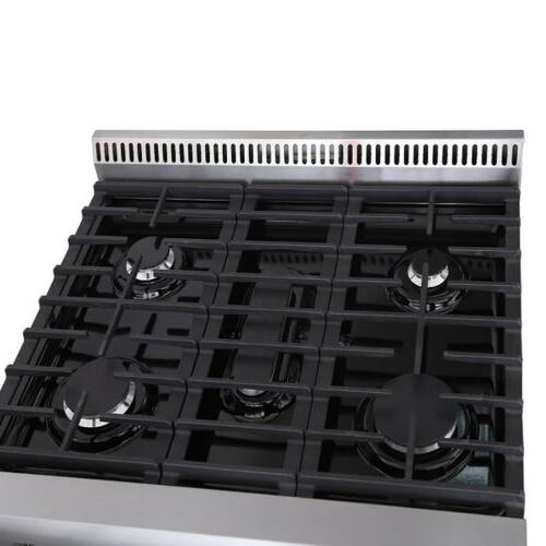 "30"" Thor Kitchen Stainless Steel Gas Range with 5 New"