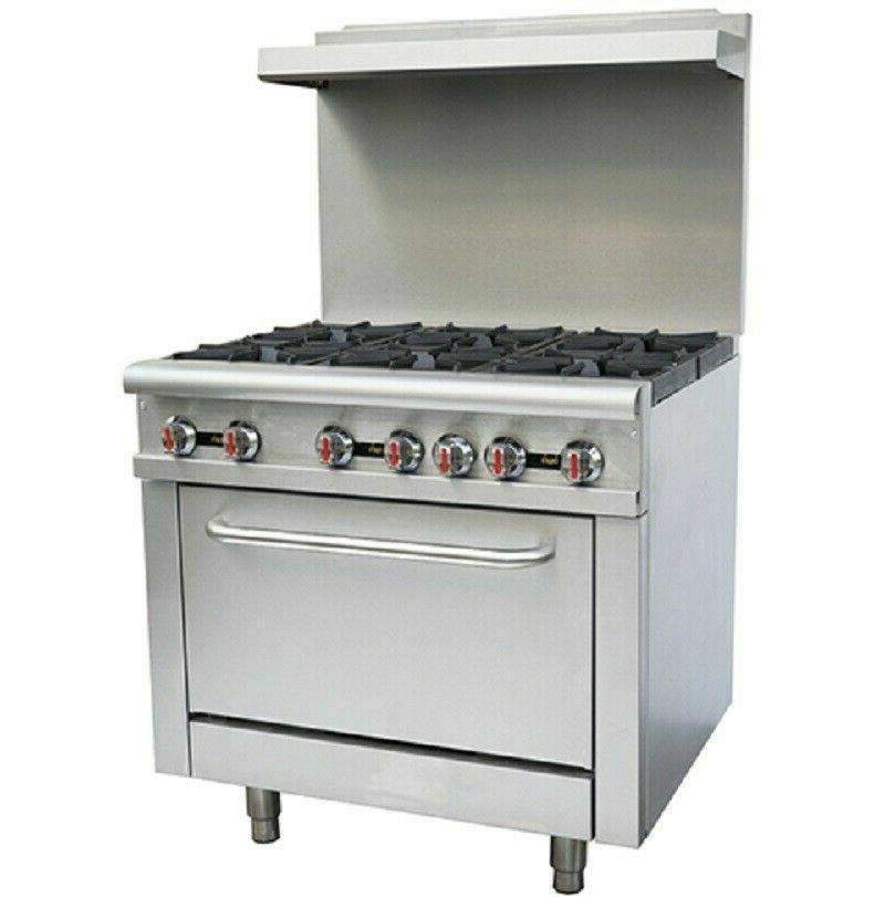 36 commercial 6 burner oven range kitchen