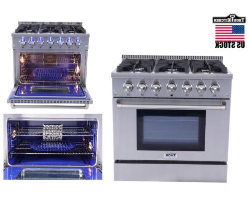 "Thor kitchen 36""Gas Range Cooktop Stove Oven Stainless Steel"
