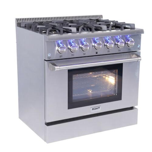36 Thor Kitchen Professional Gas Range Oven 6 Burners HRG3618U