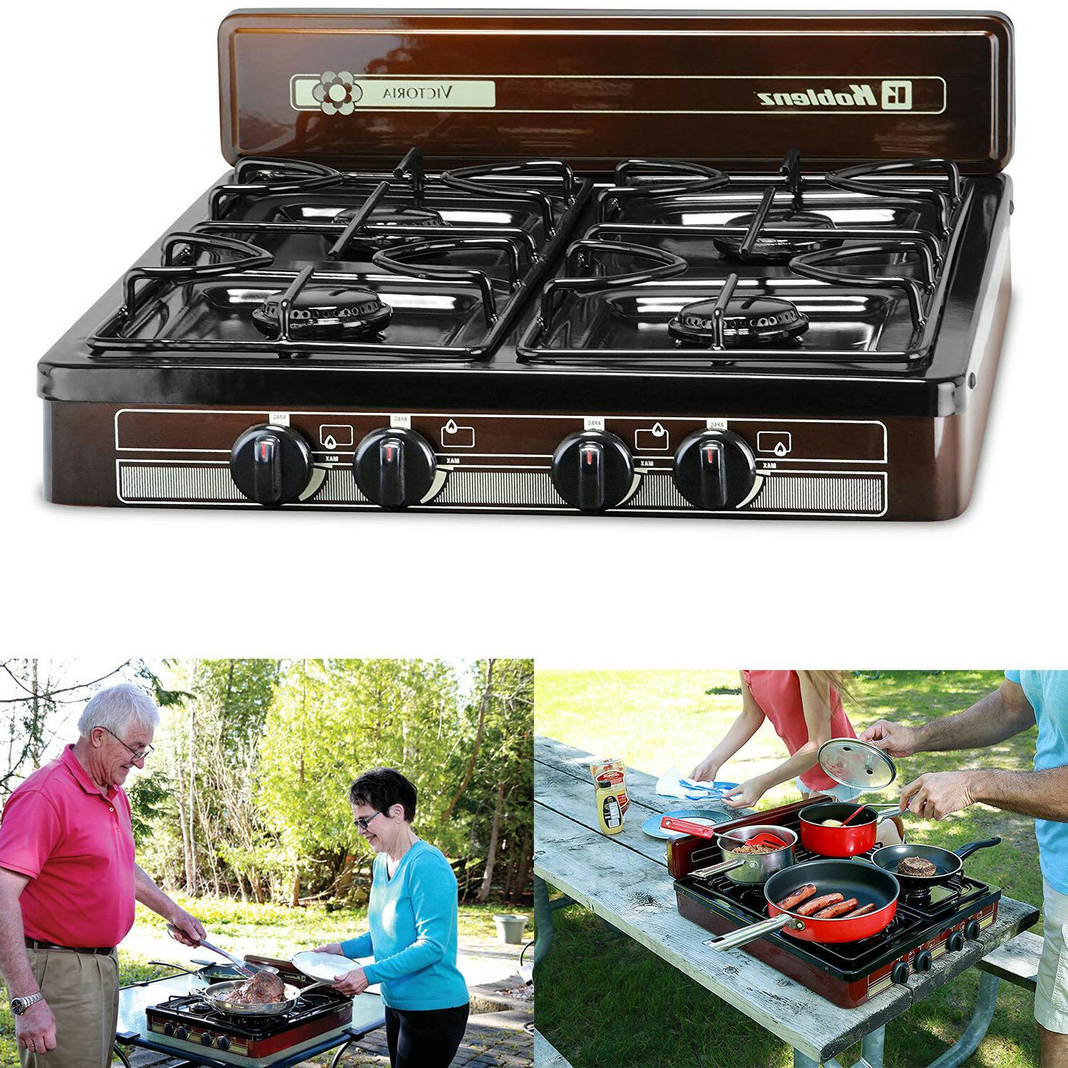 4-Burner Gas Stove Outdoor Cooking RV