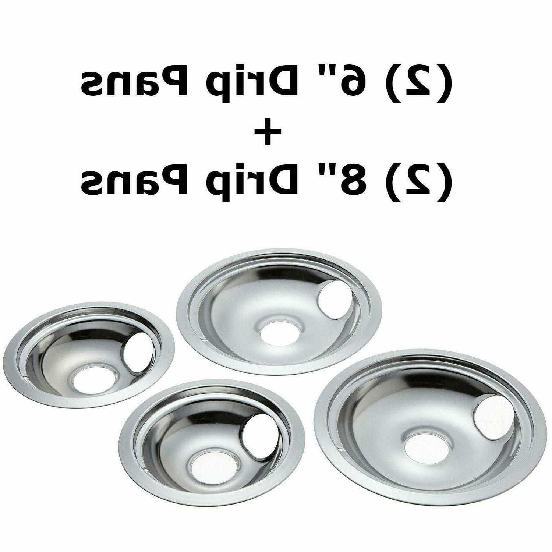 4 ge hotpoint chrome stove drip pans