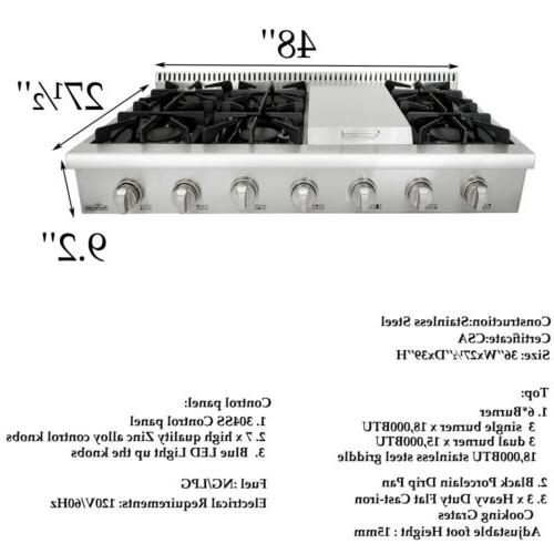 Thor griddle steel burner range HRT4806U