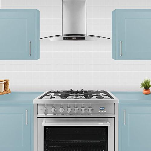 Cosmo 668AS750 30-in Wall-Mount Range | / , Glass Stove Vent , 3 Speed Exhaust , Permanent Filter