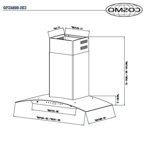 Cosmo Range Ducted / Convertible Duct , Glass Stove , 3 , Timer, Filter
