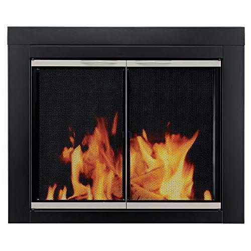 Pleasant Hearth Alsip Sunlight Nickle Fireplace Glass Doors