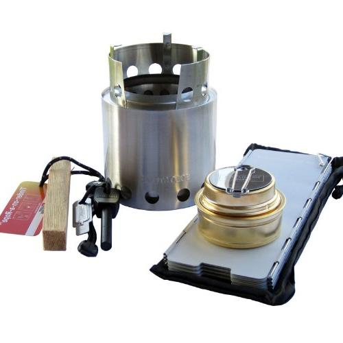 Solo Stove with Windscreen, Alcohol Stove, Fire Steel, Tinde