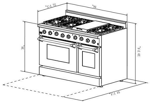 Thor Gas with 6 Burners Double Ovens, -